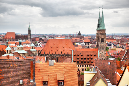nuremberg: Panoramic view of Old Town in Nuremberg, Germany Stock Photo