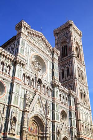 the campanile: Campanile di Giotto and Duomo di Firenze, Florence in Italy Stock Photo