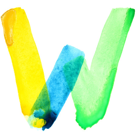 resemble: Letter W - Vivid watercolor alphabet. Colours resemble flag of Brazil
