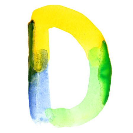 motley: Letter D - Vivid watercolor alphabet. Colours resemble flag of Brazil Stock Photo