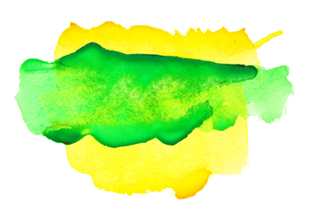 Yellow green abstract watercolor background Stock Photo