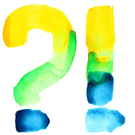 resemble: Exclamation and question marks - Vivid watercolor alphabet. Colours resemble flag of Brazil