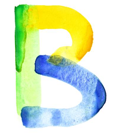 resemble: Letter B - Vivid watercolor alphabet. Colours resemble flag of Brazil