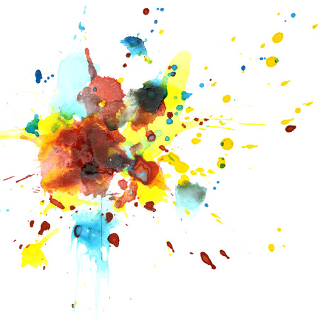Colorful watercolor splashes - abstract background Stock Photo