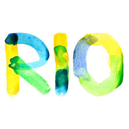Rio - watercolor text isolated on white.  Colours resemble flag of Brazil Stock Photo