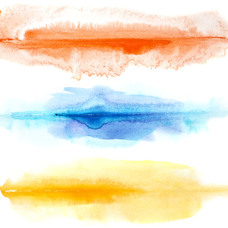 dabs: Abstract colorful watercolor lines isolated over the white background Stock Photo