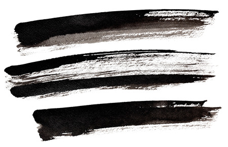 Set of long black brush strokes isolated over the white background 스톡 콘텐츠