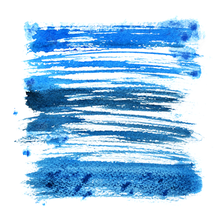 dabs: Blue expressive brush strokes isolated over the white backgdound - abstract square frame
