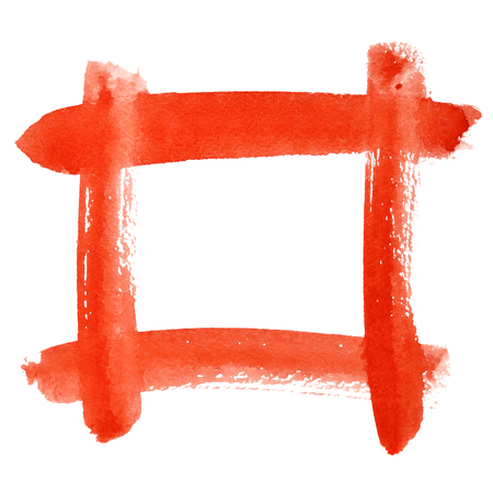 dab: Red watercolor frame of brush strokes - space for your own text