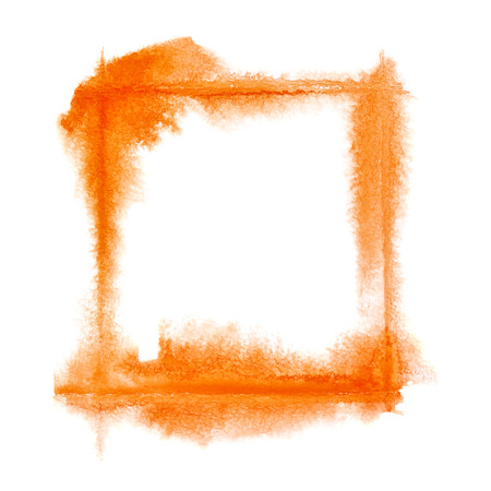 dabs: Square orange watercolor frame - space for your own text Stock Photo