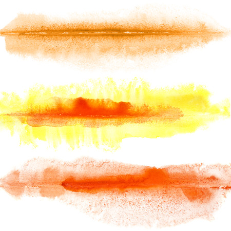Yellow, orange, red watercolor lines isolated over the white background