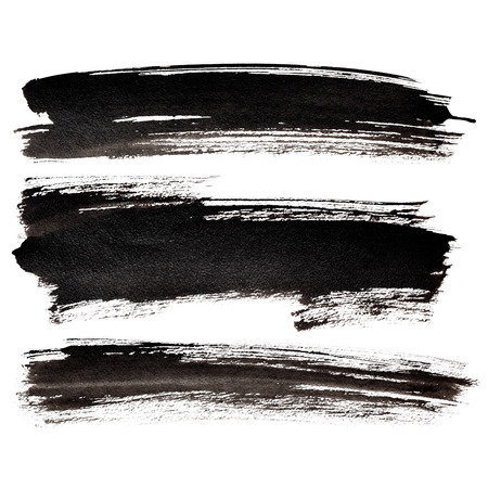 Set of long black brush strokes  - raster illustration