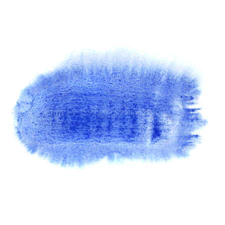 Short blue brush stroke isolated on the white background - space for your own text