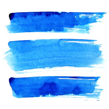 白い背景に分離された青いブラシ ストロークのセット