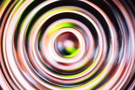 crimped: Yellow - black abstract background with defocused concentric circles Stock Photo