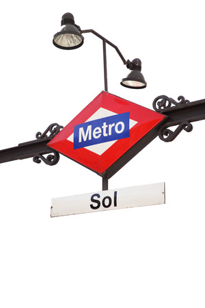 subway station: Metro sign ( Sol station ) in Madrid isolated on the white background Stock Photo