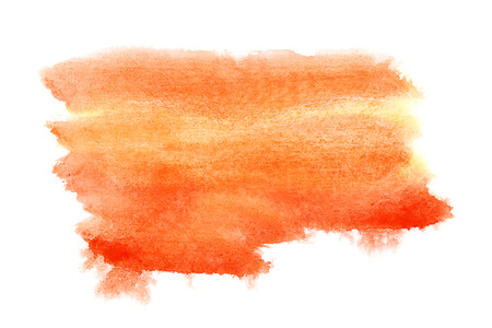 watercolor brush: Orange watercolor brush strokes isolated over the white background