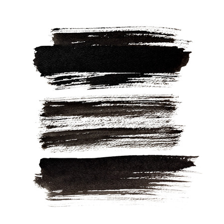 expressive: Set of expressive black brush strokes isolated over the white background Stock Photo