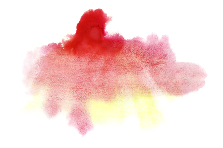 Yellow - red formless watercolor stain isolated over the white background