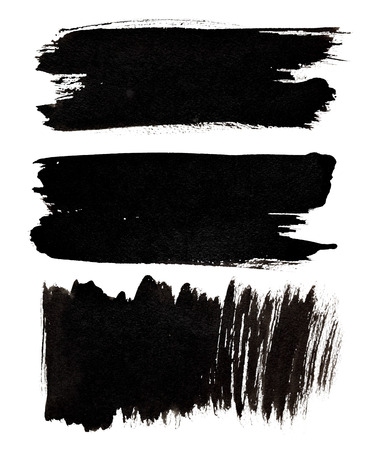 dab: Set of black brush strokes isolated over the white background Stock Photo