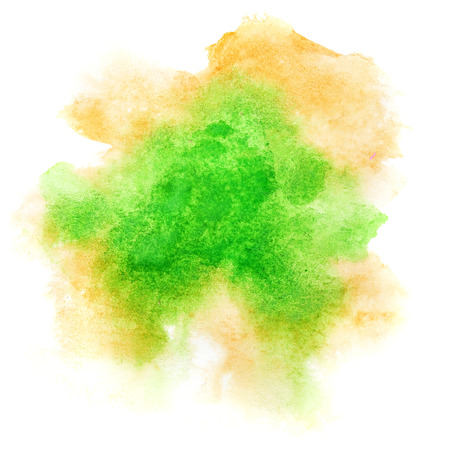 amorphous: Green formless watercolor stain isolated over the white background