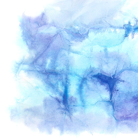 Blue watercolor background with texture of crumpled paper Stock Photo