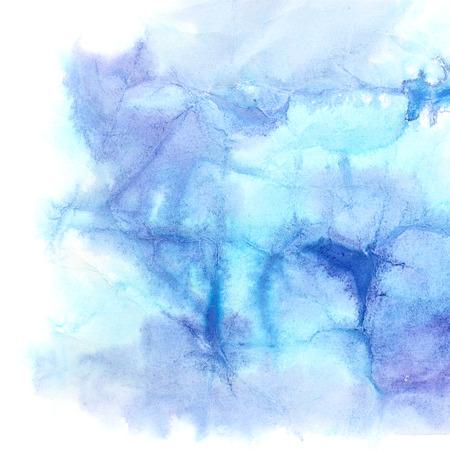 textura: Fondo azul de la acuarela con textura de papel arrugado