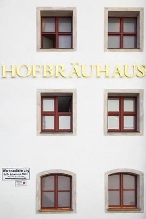 alehouse: MUNICH, GERMANY - MAY 18, 2016: Signboard of Hofbraeuhaus beerhouse in Munich