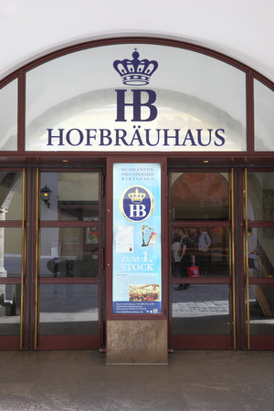 alehouse: MUNICH, GERMANY - MAY 18, 2016: Main entrance of Hofbraeuhaus beerhouse in Munich