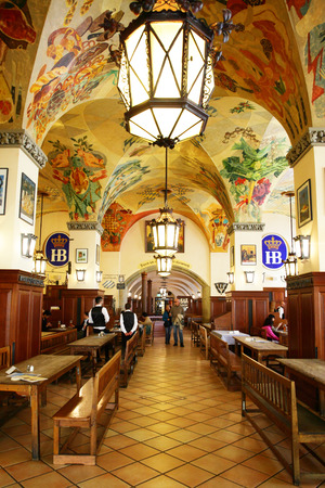 alehouse: MUNICH, GERMANY - MAY 20, 2016: Interior of Hofbraeuhaus beer house in Munich