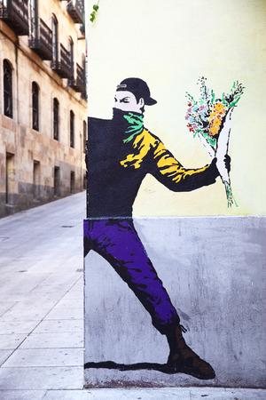 graffito: SALAMANCA, SPAIN - September 02, 2016: Street art mural on a corner of building in Salamanca Editorial
