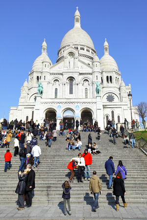 sacre: PARIS, FRANCE - March 4 ,2011: People in front of Sacre Coeur Basilica on Montmartre Editorial