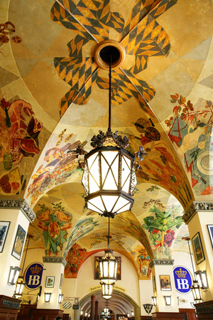 alehouse: MUNICH, GERMANY - MAY 20, 2016: Ceiling with old wall-painting in Hofbraeuhaus beerhouse in Munich