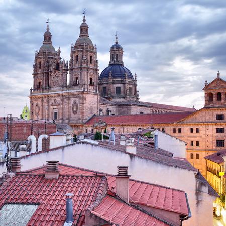 Roofs and Iglesia de la Clerecia in Salamanca at dusk, Castilla y Leon, Spain