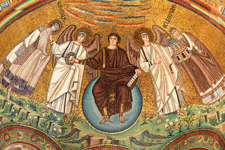 redemption of the world: Ancient mosaics (VI century) in the Basilica of San Vitale in Ravenna, Italy