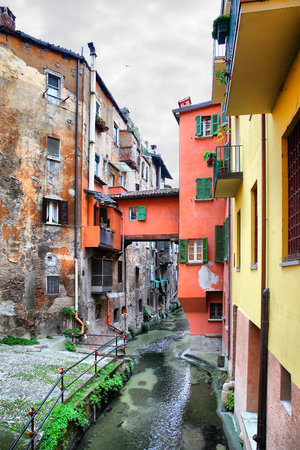 View of canal in the old town of Bologna, Italy Stock Photo