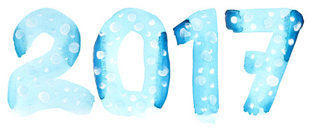 number seven: New year 2017 - Blue watercolor number isolated on the white background