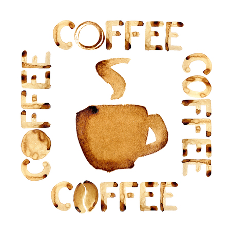 Coffee theme design painted in real coffee Stock Photo