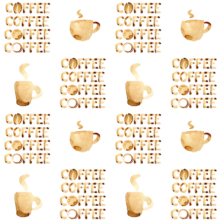 cofe: Cups and word coffee - seamless patterm. May be used as background Stock Photo