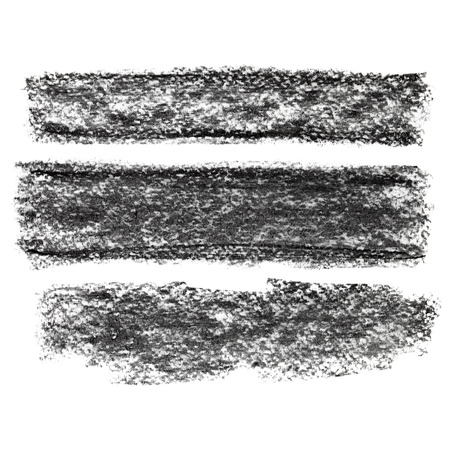 black textured background: Set of black textured charcoal stripes isolated on the white background Stock Photo