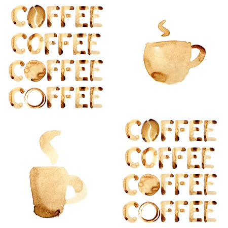 Coffee theme seamless pattern painted in real coffee