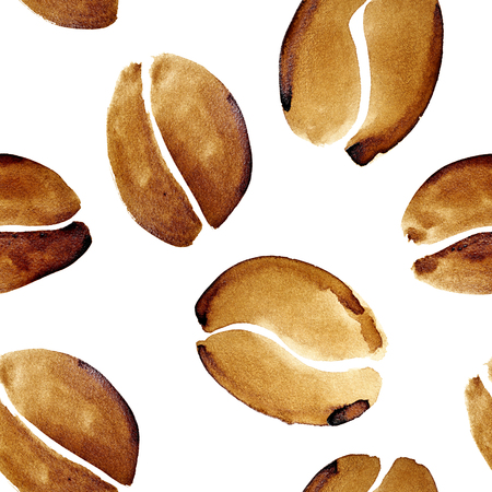 Coffee beans in real coffee - seamless pattern