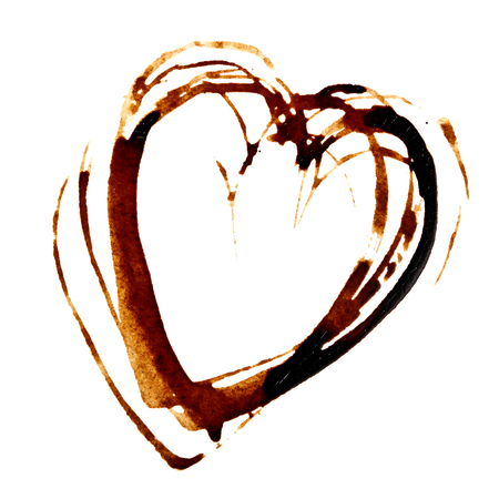 Heart - Coffee stain isolated on the white background Stock Photo