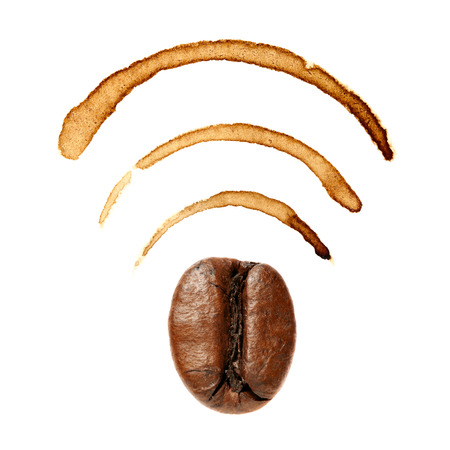 Wi-Fi sign by coffee bean and stains Stock Photo