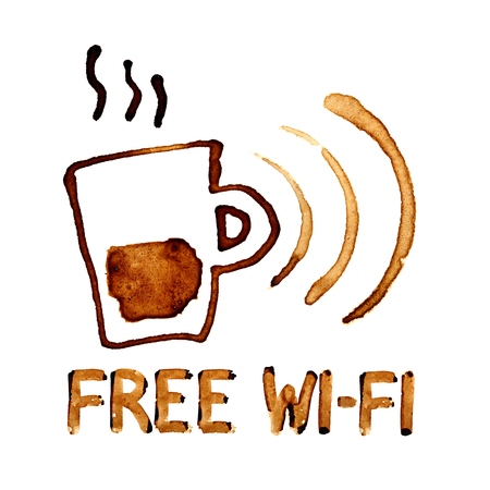 wi fi: Free Wi-Fi sign by coffee stains over white background