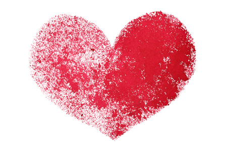 stenciled: Red grunge stenciled heart isolated on the white background