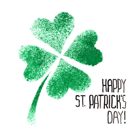 stenciled: Happy St. Patricks Day - Green stenciled four-leaf Irish clover