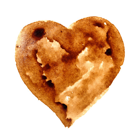 Heart - Coffee stain isolated on a white background