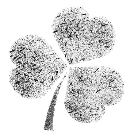 stenciled: Shamrock - stenciled Irish clover - raster illustration Stock Photo