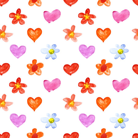 oxeye: Watercolor hearts and flowers - raster seamless pattern Stock Photo